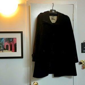 Burberry London black wool swing coat size 4 us